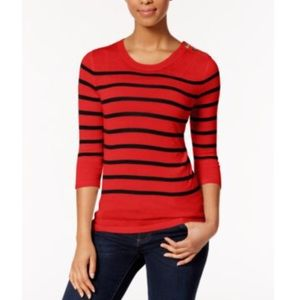 Kensie Red Striped Sweater XS